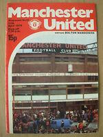 MANCHESTER UNITED v BOLTON WANDERERS 1978-79 DIVISION 1 PROGRAMME