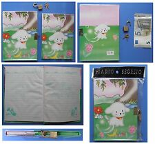 Diario Segreto vintage Red Girl con lucchetto cane bianco fiori bosco fragole