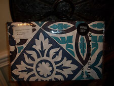 NIP Max Studio White/Cobalt Blue/Aqua Blue King Duvet Cover Set 3pc