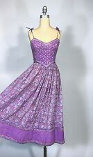 Vintage 1960's cotton hippie BoHo dress soft Lilac purple w/Swarovski crystals