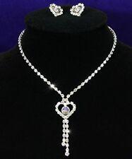 Parure collier boucles d'oreille mariage strass coeur cristal swarovski qualité