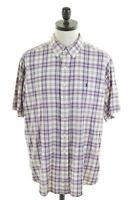 RALPH LAUREN Mens Shirt Short Sleeve XL Purple Madras Cotton Blake FP02