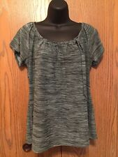 Susan Lawrence Top Womens Size XL Short Sleeve Mint Green Black Stretch Blouse