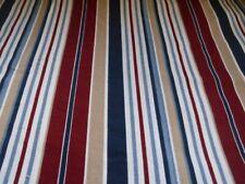 JC PENNEY HOME MULTI STRIPE TWIN X-LONG FLAT SHEET BLUES WINE TAN
