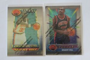 1994 topps finest grant hill rookie basketball card lot #240 and #200 collegiate