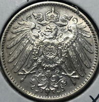 1910-F Germany 1 Mark Silver Coin, UNC Condition