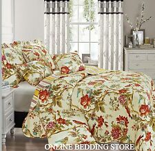 Floral Vintage Patchwork Quilted Bedspread & 2 Pillow Shams Super King Alicia