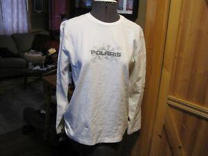 Polaris Women's Snowmobile White  jersey LOGO SNOWFLAKE long sleeve m/canada MED