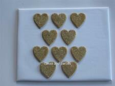 10 X EDIBLE GOLD GLITTER HEARTS. CAKE DECORATIONS - LARGE 4cm