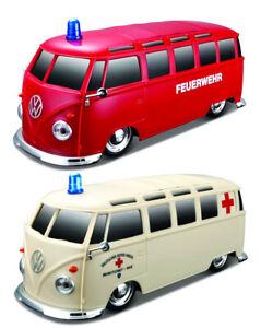 Maisto Remote Control Car VW Bus with Light and Sound Bulli Ambulance Fire