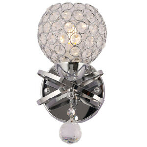 E14 LED Crystal Wall Lights Sconce Fitting Bedside Bedroom Lamps Hallway Silver