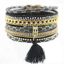 Gold Chunky Black Snake Pu Lether Chain With Tassel Women Fashion Wrap Bracelet