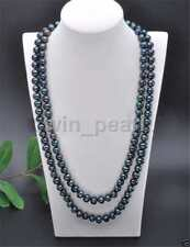 Handmade 7-8mm Real Natural Black Akoya Freshwater Pearl Necklace 36'' AAA