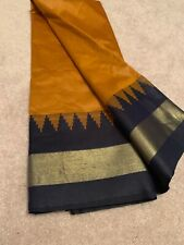 India POLY SOFT SILK Orange Navy Blue SAREE with BLOUSE Fashion Gold Zari Women