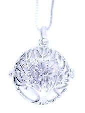 Silver tone cutout tree locket pendant necklace