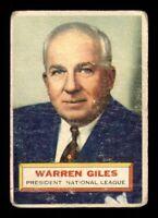1956 Topps White Back #2 Warren Giles PRES DP F X1284640