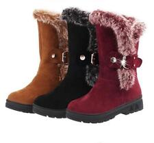 Women's Furry Fur Lined Chunky Heels Mid Calf Snow Boots Winter Warm Shoes Size