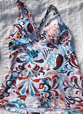 Perry Ellis Women's Multi Color Print Swim Tank Top Tankini Large Criss Cross