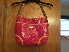 Coach Peyton Embossed leather hobo pink and tan purse F20022