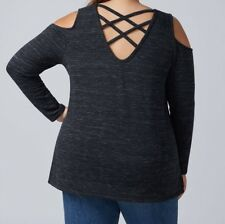 NEW LANE BRYANT BLACK STRAP BACK OPEN SHOULDER SWEATER BLOUSE 1X 14/16 $60 TOP