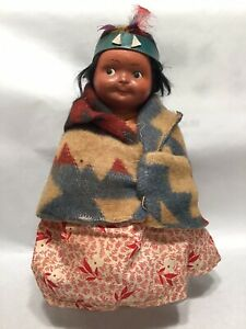 Vintage North American Indian Skookum Doll 8""