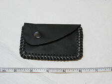 "Handmade leather coin purse pouch black w/ black stitching 4"" X 2 1/2"" angle flp"