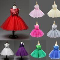 Flower Girls Tutu Dress Kids Baby Sequins Princess Party Wedding Birthday Dress