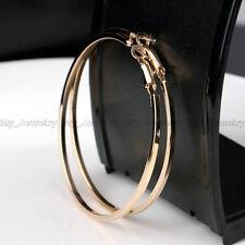 6CM Gold/Silver Plated Women Hoop Earrings Large Big Hoops Simple Design Wedding