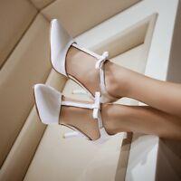 Womens Point Toe T-Strap Bowknot Kitten Heel Sweet Bowtie Sandals Court Shoes Sz