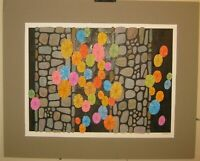 Vintage BEN BLACK Color Block 'Stones & Bubbles'ABSTRACT PAINTING -Listed Artist