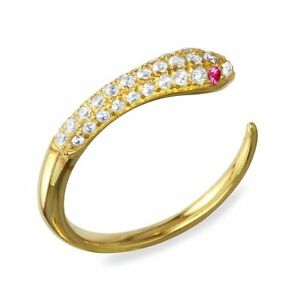 OPEN SNAKE RING W/ ACCENTS  /SZ 5 - 9/ 14K YELLOW GOLD OVER 925 STERLING SILVER
