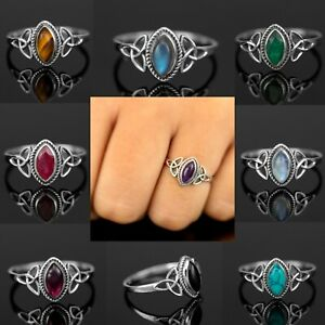 Marquise Moonstone 925 Sterling Silver Turquoise Gemstone Ladies Ring Jewellery