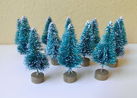 12psc Mini Sisal Bottle Brush CHRISTMAS TREES Snow Frost Village Putz Great Q