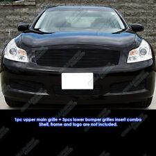 Fits 07-08 Infiniti G35 Sedan Black Billet Grille Grill Combo Insert