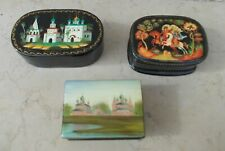 Vintage Russian hand painted 3 boites