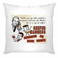 Marijuana Cushion Cover Retro Reefer Madness Marijuana Smoking Joke
