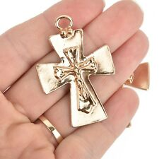 "2 Gold Crucifix Cross Charms large 2"" long, chs5220"