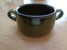 GREEN EARTHENWARE SOUP BOWL WITH HANDLES