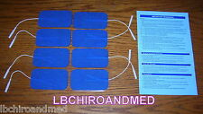 8 NEW Replacement Electrode Pads for Top Tens Units 2 x 3.5 inch Blue Cloth