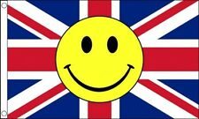 UNION JACK SMILEY FACE FLAG 5' x 3' UK GB British Eurovision Song Contest Party