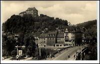 Greiz Thüringen DDR Postkarte ~1957 Brücken Blick auf Oberes Schloß ungelaufen