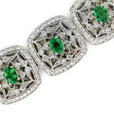 14k Antique Victorian Look Green Garnet (Tsavorite) & Diamond Bracelet 17.13TCW