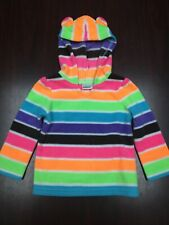 Jumping Beans Baby Girl 18 Month Fleece Hooded Pullover Euc Bright Color Stripe