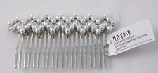 Pearl rhinestone hair comb silver metal bride wedding
