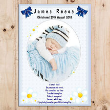 Personalised Boys Christening Baptism Naming Day Party PHOTO Poster Banner N15
