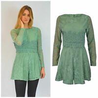 Gorgeous Pale Green Lined Lace Short Leg Long Sleeve Playsuit ex Famous Brand
