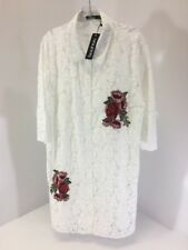 BOOHOO PLUS WOMEN'S ROSIE LACE EMBROIDERED SHIRT DRESS WHITE UK:20/US:16 NWT