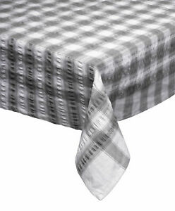 Grey Seersucker Checked Tablecloth 100 % Cotton