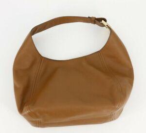 Michael Kors Fulton Large Leather Hobo Bag Purse Luggage Brown Tan Gold