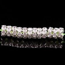 100pcs Quality Crystal WAVY Rhinestone SILVER PLATED Rondelle Spacer BEADS 6MM